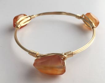 Orange Agate Wire Wrapped Bangle, Wire Wrap Bangle, Wire Wrap Bracelet, Wire Wrapped Bracelet, Wire Bangle, Hemstone  Bangle