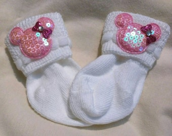 Newborn baby socks with Mouse!  Every New Baby Girl Should Have These Adorable Socks. 1st Keepsake and make an adorable Gift!
