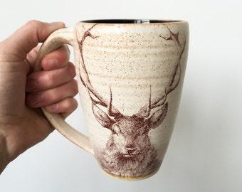 STAG MUG // deer mug large mug pottery mug beer mug hunting mug travel mug modern mug handmade mug mug with handle indigo cobalt blue