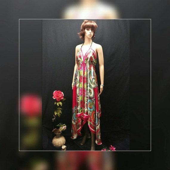 Satin Scarf Dress Pink Fuchsia Vintage Paisley Print Scarf