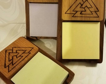 Valknut Post-it Note Holder. Valknut Desk Accessory. Woodburned valknut craft.