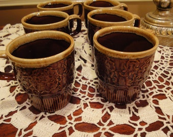 Japn Vintage Coffee Mugs/Set of 6 Coffee Mugs/Vintage Dining adn Serving/Vintage Drinkware/Vintage Mugs/Vintage Japan Mugs/Stackable Mugs