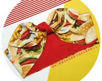 Burger & Fries Fast Food Junk Food Rockabilly Vintage Pin Up 1950's Self Tie Head Scarf Hair Tie Headscarf Hair Bow by Miss Cherry Makewell