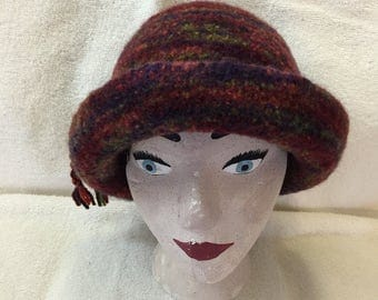 Varigated reds 100% wool felted hat with cord.