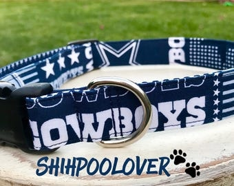 Dallas Cowboys NFL Football Adjustable Dog or Cat Collar (Matching Leash Available)
