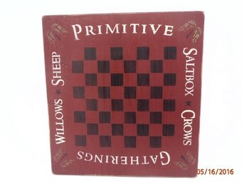Game Board Primitive Sign Primitive Checkerboard Gatherings Sign Rustic Country Sign Wall Decor Family Fun Home Decor