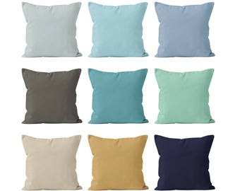Solid Beach Pillow Covers Set Mix and Match, Nautical Ocean Beach House Decor, Solid Navy Mint Sand Beige Blue Pillow Covers 18x18