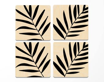 Tropical Palm Leaves Wood Coasters Set of 4, gift for her, tropical home decor, office gift for her