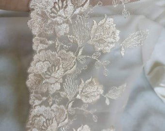 Wholesale lot  1.5yards  champagn (beige)   flower embroidered  Lace Trim DIY Sewing dress  10cm 4inch