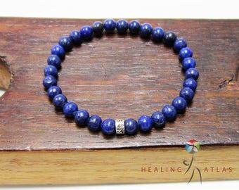 Lapis Lazuli 925 Om Mani Padme Mantra Mala Bracelet Third Eye Chakra Mala Protection Lapis Lazuli Bracelet Lapis Lazuli Healing Yoga Mala