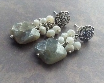 Stud Earrings-Gray Stone-Labradorite Earrings-Boho Chic-Cluster Earrings-Silverite Earrings-Gray And White-Ready To Ship Gift