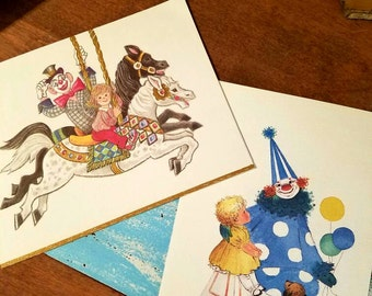 Vintage clown greeting cards. Blank unused with Envelope. Clown and Children themed. Lot of 2 cards. Blank