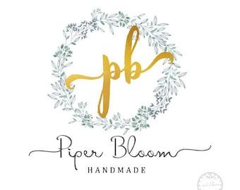 Premade Logo Floral Rustic Peonies Wreath Boho Gold Modern Custom Shop Logo Business Card Branding Design Wedding Signs LD038