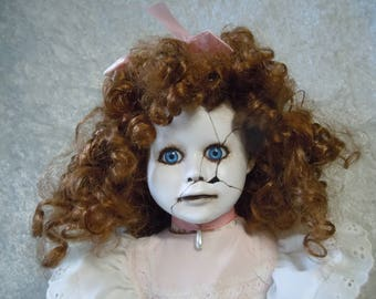 Tall Creepy Doll with Cracked Face #77 Dark Art  Horror Collectible day of the dollies