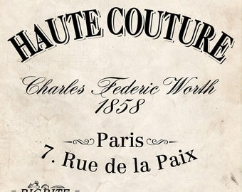 Water Decal Print transfer to furniture, wood or paper – Vintage French Advert: Haute Couture #006