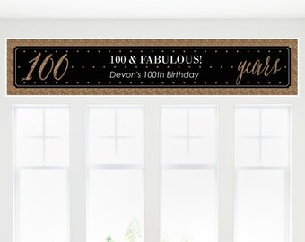 Chic 100th Birthday – Black and Gold Party Banner - Birthday Party Decorations