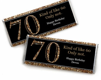 70th Birthday Candy Bar Wrappers - Adult 70th Birthday - Gold - Personalized Birthday Party Favors - Set of 24