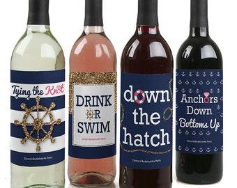 Bachelorette Party Wine Bottle Labels - Personalized Last Sail Before The Veil Wine Sticker Labels - 4 Nautical Bridal Shower Wine Labels