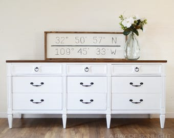 SOLD White Farmhouse Long Dresser, Dark Walnut Stained Top, Refinished Vintage  Furniture, Custom