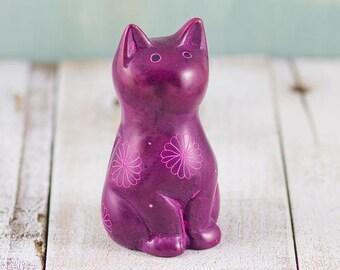 Soapstone Cute Kitty Cat Purple