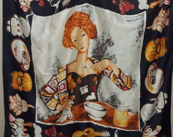 1980s vintage Moschino silk scarf with Amedeo Modigliani girl