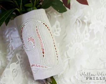 Custom Monogram Bridal Bouquet Wrap ~ Cutwork Embroidery with Color Underlay