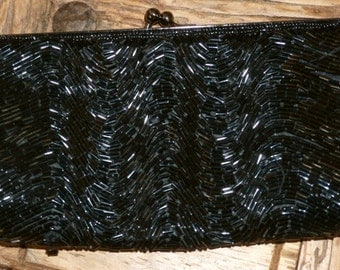 FELLINI CARLO FELLINI Vintage Black Beaded Evening Baguette Clutch Purse with Kiss Closure