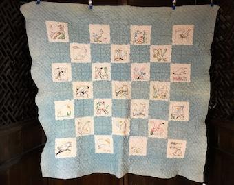 Child's handmade bird design quilt