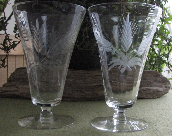 Wheat Etched Glasses Ice Cream or Dessert Footed Parfait Glass Set of Two (2) Dessert Glasses Rustic Farmhouse