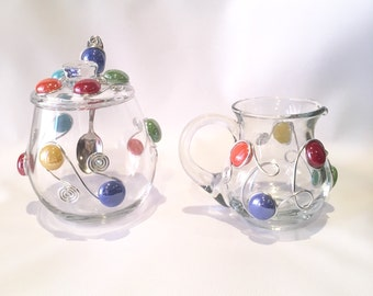 Sugar Bowl & Creamer Set, Wire Wrapped Utensil, Wire Wrapped Spoon, Coffee Creamer, Kitchen Decor, Coffee and Tea, Beaded Bowl, Dip Bowl
