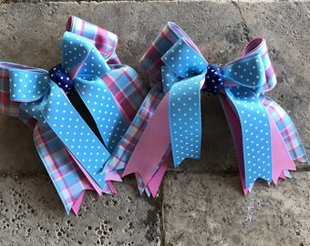 Shorty Hair bows for horse shows/beautiful hair accessory/turquoise blue pink