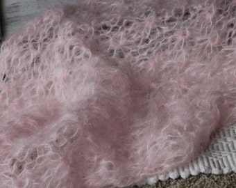 Knitted Brushed Mohair bump blanket, Pink mohair Layer