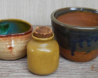 Colorful Handmade Studio Pottery Trio!
