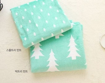 White Tree Minky Fabric Mint by Yard - 2 Pattern Selection