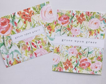 Scripture Print | Floral Art | Grace Upon Grace | John 1:16 | Bible Verse Wall Art Decor | Nursery Art