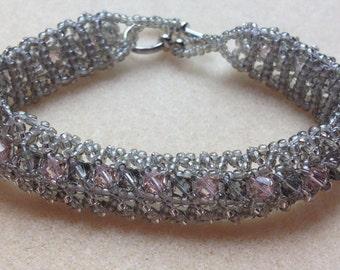Beaded Swarovski Crystal Bracelet-Light Grey/Pink-8 in.