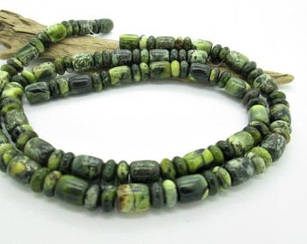 Green Serpentine Beads, Mixed Barrels and Rondelles, (27)