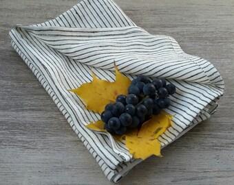 Striped linen napkins - Striped napkins set - linen napkins set - striped dinner napkin - striped table napkins - striped cloth napkins