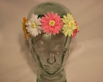 Pink/Green/White/Yellow multicolor organic hemp flower crown