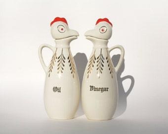 Oil And Vinegar Rooster Cruets , Oil and Vinegar Ceramic Cruets , Rooster Design , Rooster Kitchen Decor , Pair of Cruets , Vinegar & Oil