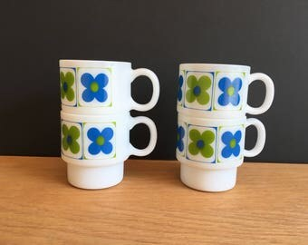 Flower Mugs - Green and Blue Flowers - Set of 4