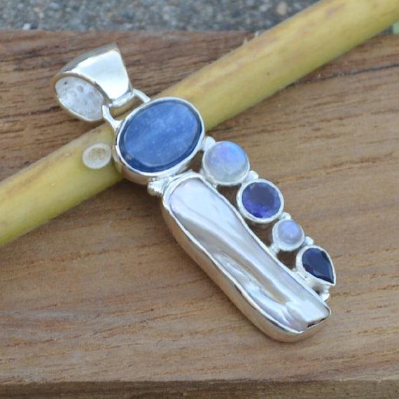 South Sea Pearl Pandant , Rainbow Moonstone Pandant -Blue And White Pandant, Kyanite Artisans Pandant, Ioliet Pandnat, kyanite Ioliet