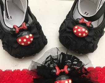 Black baby rosette shoes and headband set, cute logo button black shoes, Minnie Mouse  black shoes set.