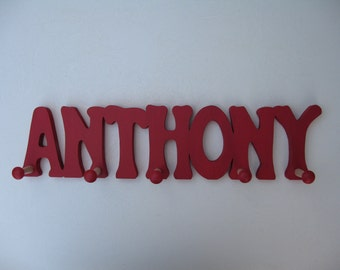 Coat Hanger Boy's Cutout Wood Name - 6.00 per letter With Color Choice