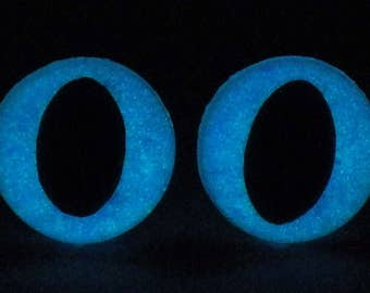 9mm Glow In The Dark Cat Eyes, Metallic Blue Safety Eyes With Blue Glow, 1 Pair Of Glow In The Dark Safety Eyes