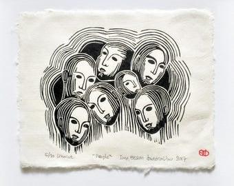 People, 2017 linocut  13x11 cm
