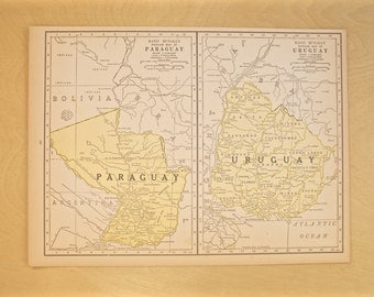 1926 - Paraguay Map - Large Antique Map - Beautiful Old Map of Paraguay - Large Vintage Map - Colorful Atlas Map - Gift - Home Decor