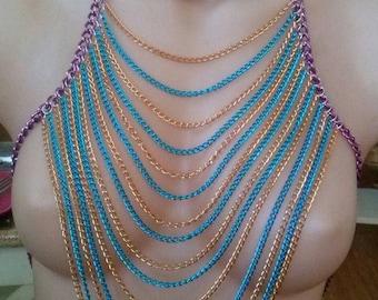 Multi strand chain chest harness.
