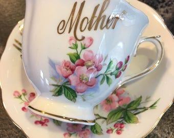 Royal Albert Rose Tea Cup and Saucer MOTHER in Gilt Cursive