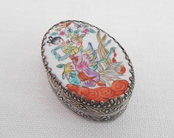 Embossed Metal Box with a Ceramic Lid Featuring a Japanese Girl with a Peacock - Collectible Metal Trinket Box - Vintage Pill Box/Ring Box